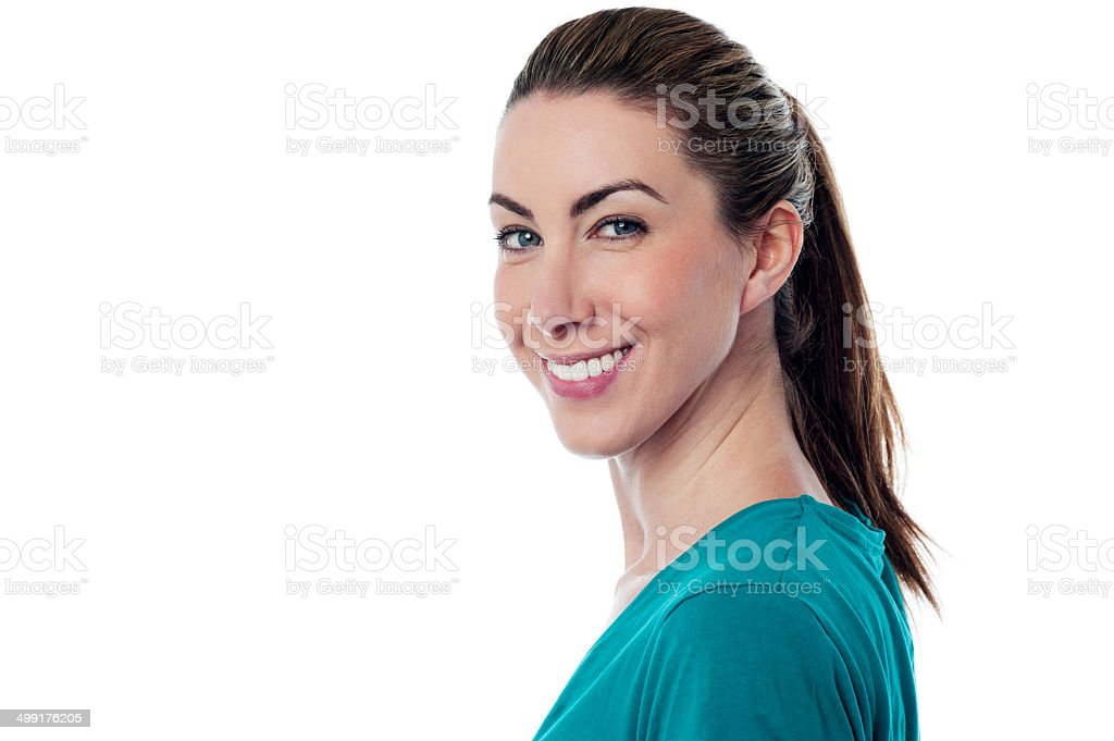 Casual portrait of smiling young woman royalty-free stock photo