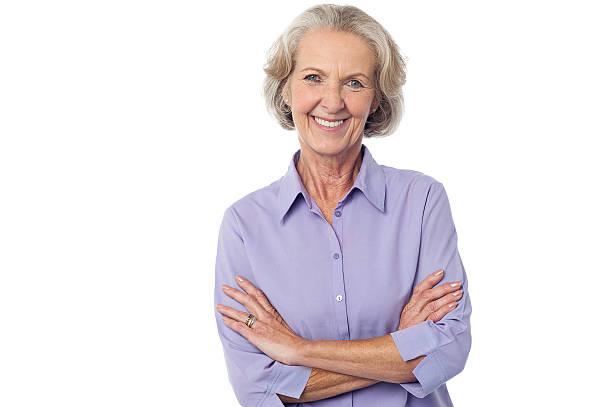 Casual senior smiling woman stock photo