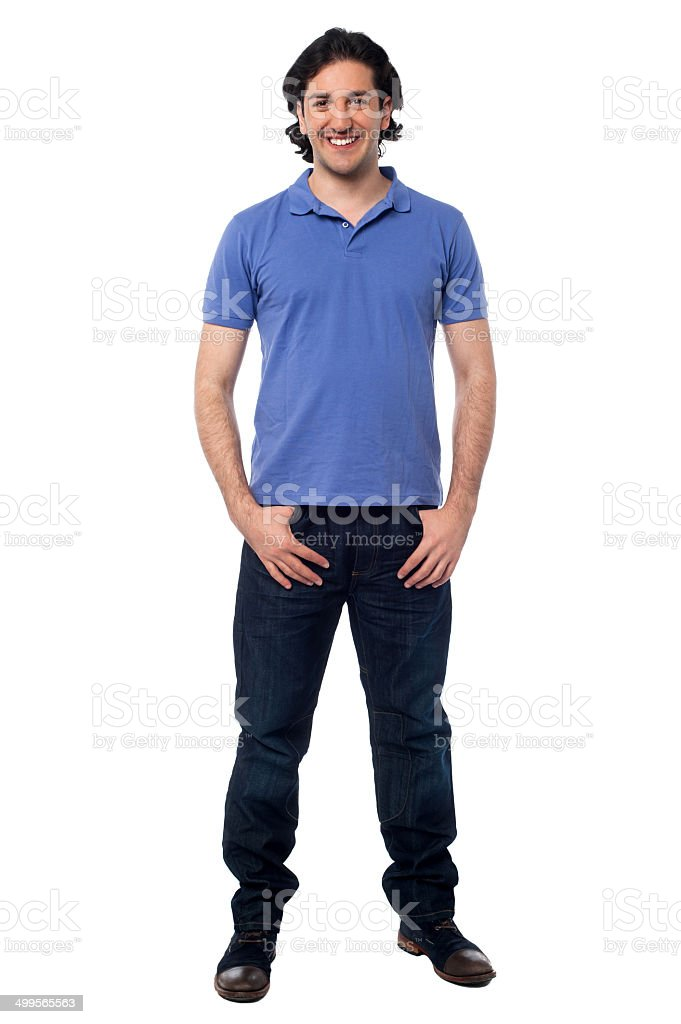 Casual studio shot of a cheerful young man stock photo