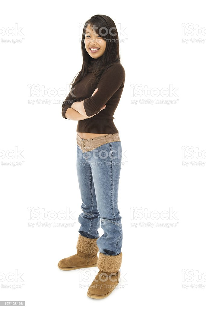 Casual Stylish Young Woman on White royalty-free stock photo