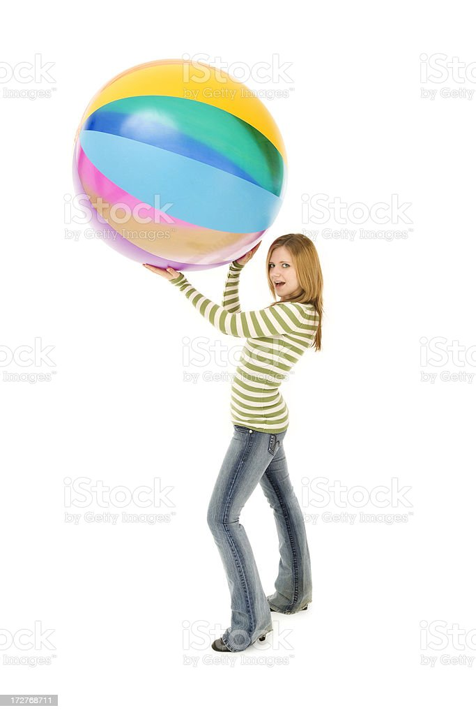 Casual Teen with Beach Ball royalty-free stock photo