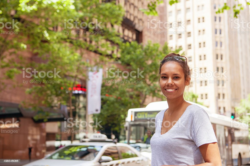 casual woman in the city stock photo