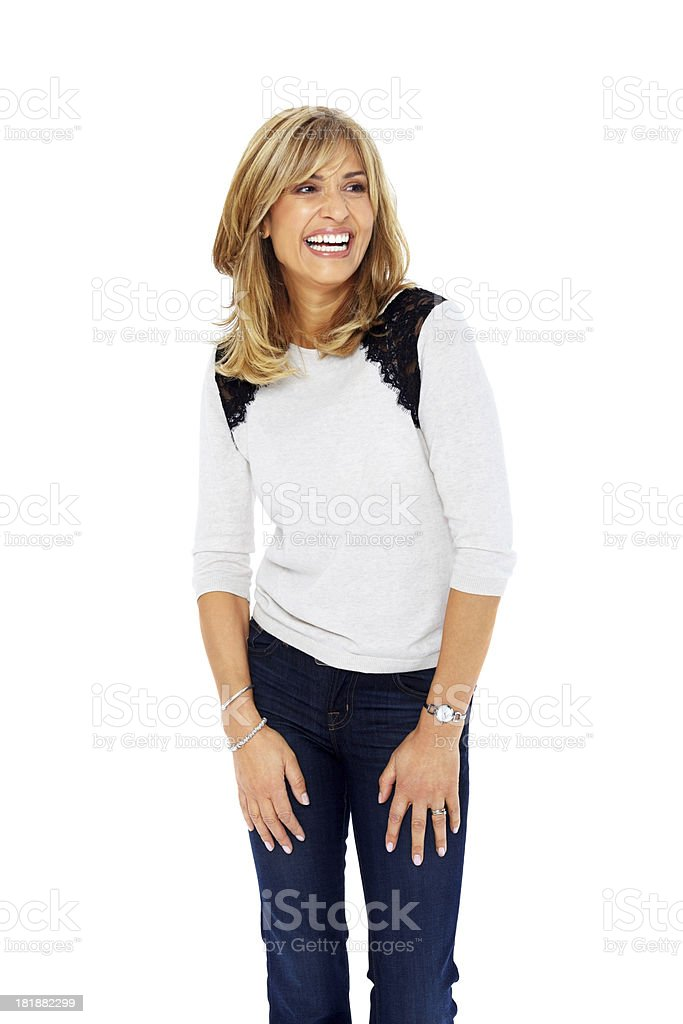 Casual woman looking copyspace smiling stock photo