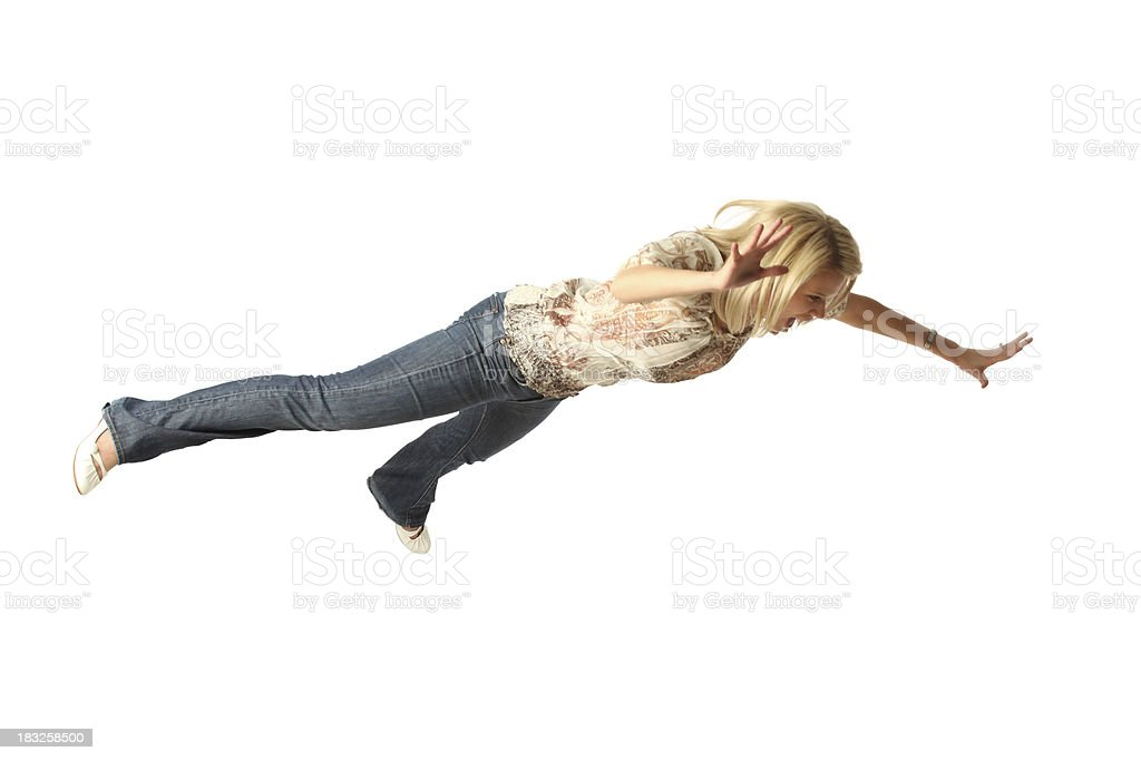Casual woman mid air falling face first stock photo
