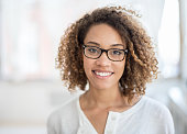 Casual woman portrait wearing glasses