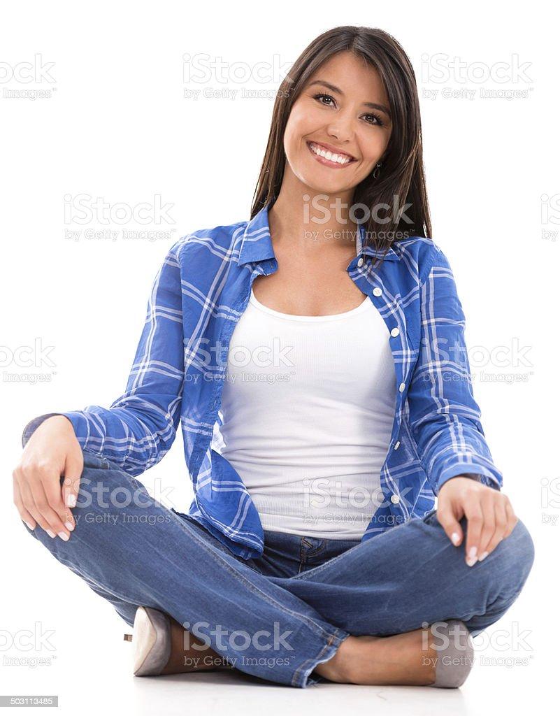 Casual woman sitting stock photo
