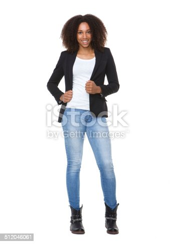 Full length portrait of a casual young african american woman