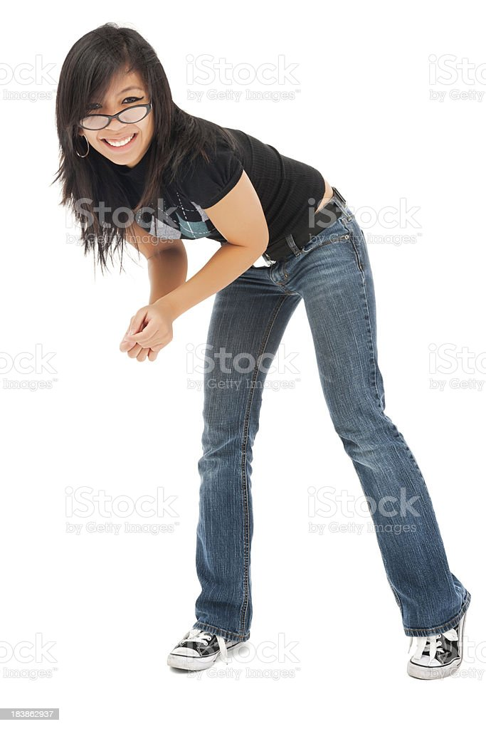 Casual Young Asian Woman Laughing royalty-free stock photo