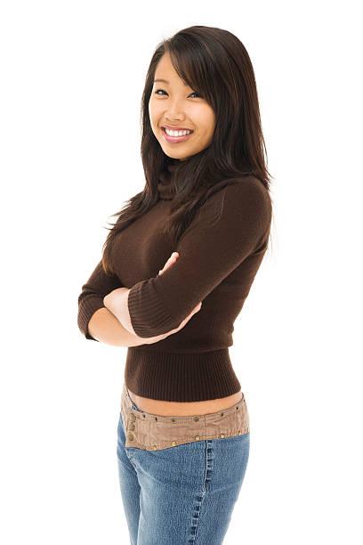 Casual Jeune femme asiatique sur blanc - Photo