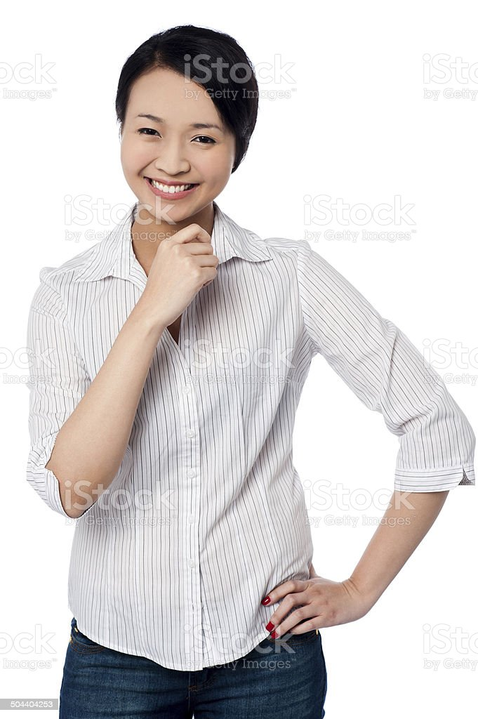 Casual young chinese girl, smiling portrait stock photo