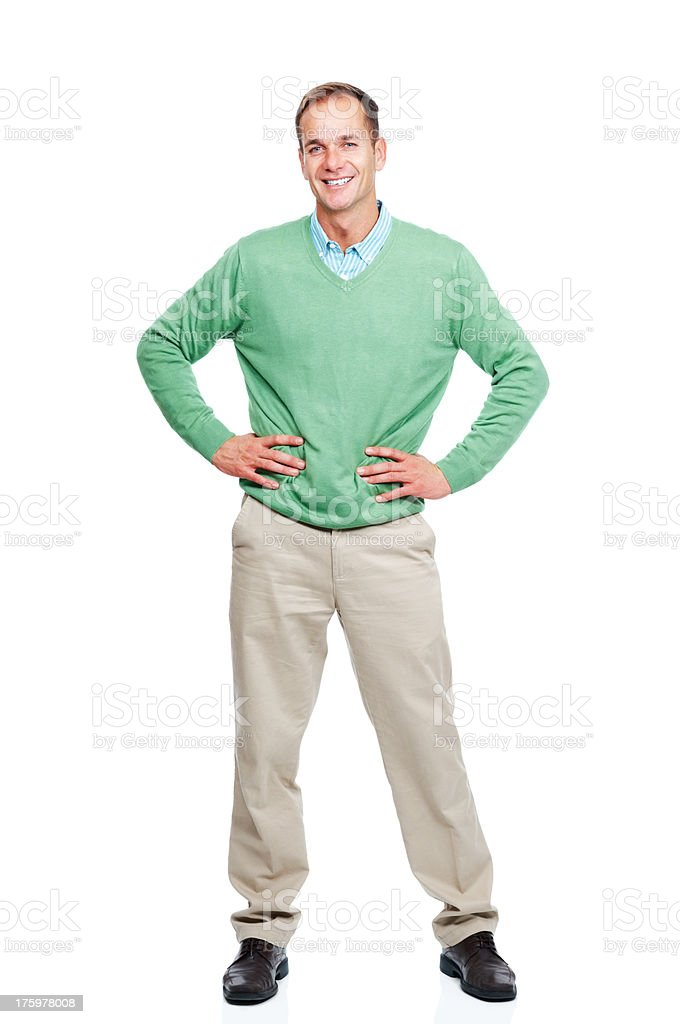 Casual young guy standing isolated against white background stock photo