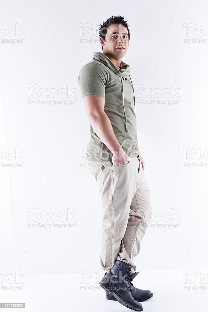 Casual Young Man Leaning stock photo