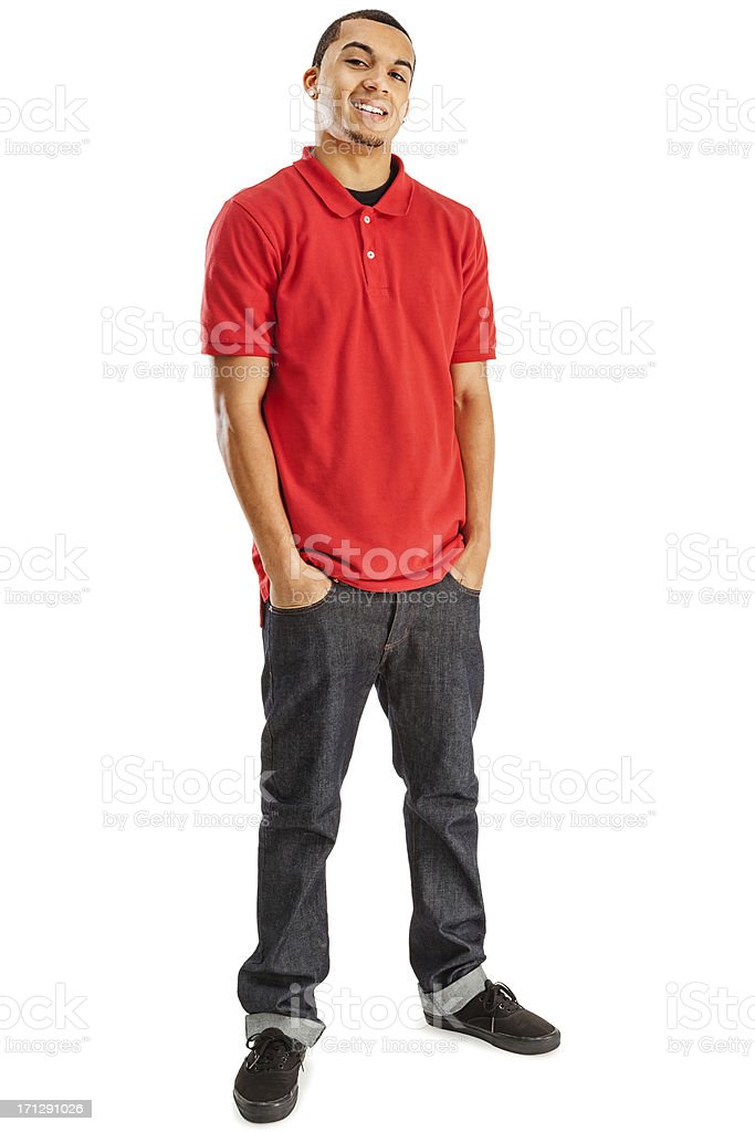 Casual Young Man on White stock photo