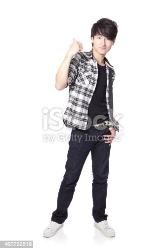 istock Casual young man show thumb up 462266519