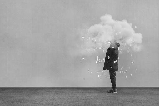 Casual young man VR cloud computing