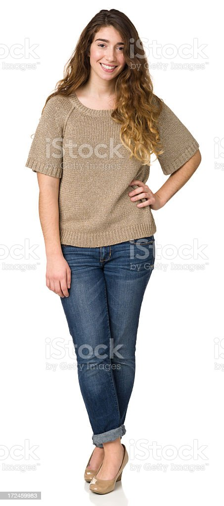 Casual Young Woman Full Length Portrait royalty-free stock photo