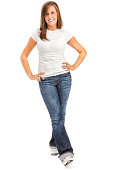 """""""Photo of an attractive casual young woman in white T-shirt and jeans, standing with hands on hips; isolated on white."""""""