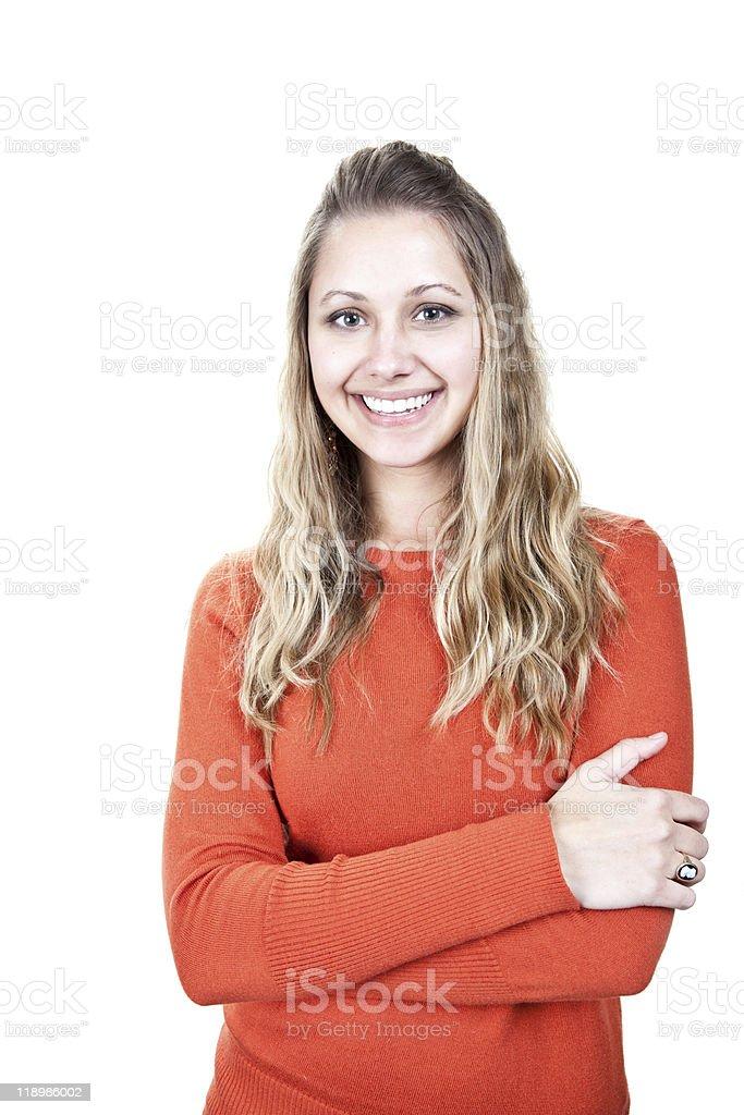 Casual young woman smiling at camera. stock photo