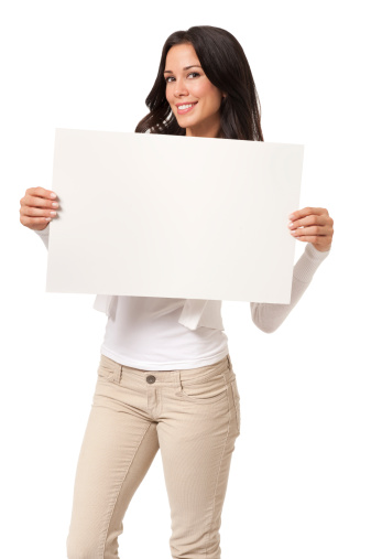 Casual Young Woman With Sign Isolated On White Background Stock Photo - Download Image Now