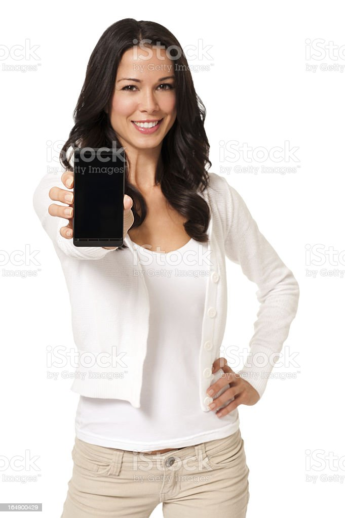 Casual Young Woman with Smartphone Isolated on White Background stock photo