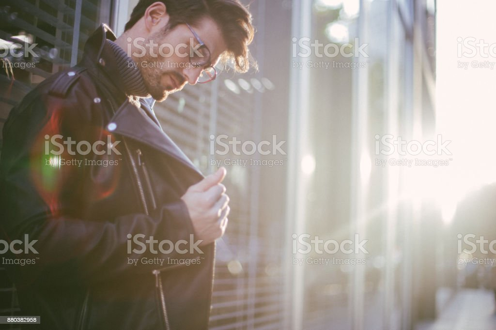 Casually dressed businessman stock photo