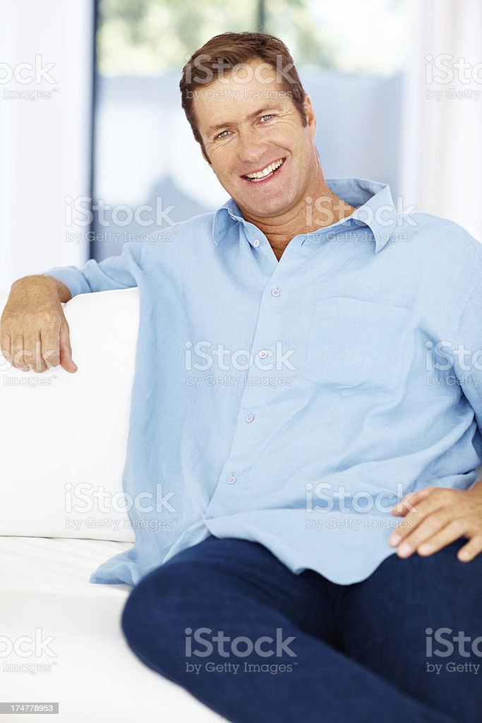 Casually relaxed in his lounge royalty-free stock photo