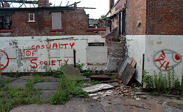 casualty of society 3 derelict building abjure stock pictures, royalty-free photos & images