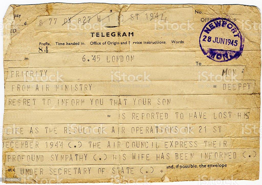 WW2 Casualty Telegram royalty-free stock photo