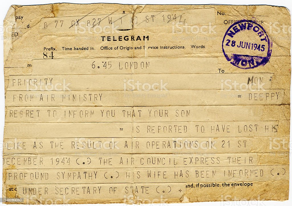 WW2 Casualty Telegram stock photo
