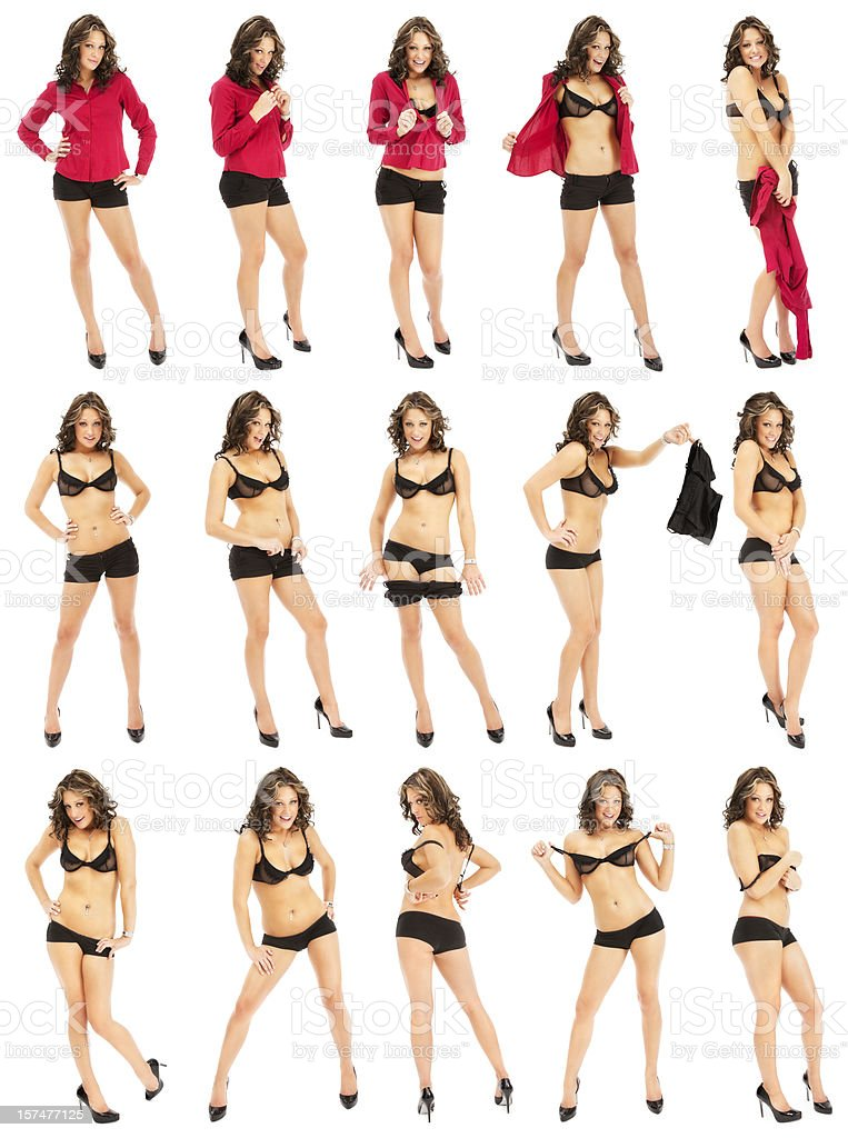 Casul Woman Striptease Composite image of a woman in red button-down shirt and shorts performing a playful striptease; isolated against a white background. 20-29 Years Stock Photo