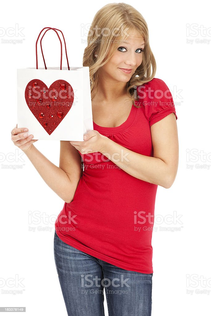 Casul Young Woman with Valentine Gift Bag royalty-free stock photo