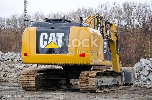 Soest, Germany - December 30, 2018: Cat 323 Hydraulic Excavator Caterpillar