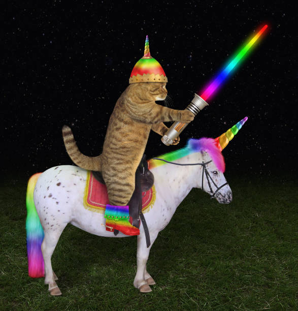 Cat alien rides the unicorn 2 stock photo