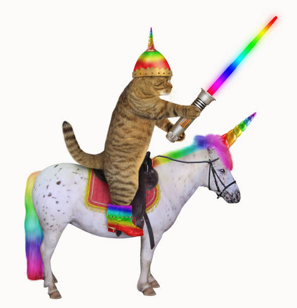 Cat alien rides the unicorn The cat alien in a helmet with horn and color boots with a glowing sword is riding the real unicorn. White background. pony stock pictures, royalty-free photos & images