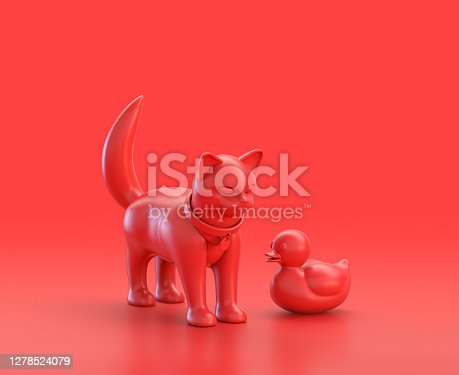 istock A cat and a rubber ducky figurines in red background, monochrome single color red 3d Icon, 3d rendering 1278524079