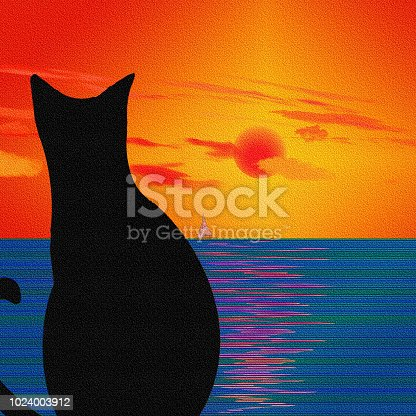 istock Cat and Landscape 1024003912