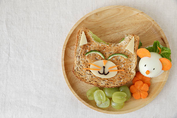 Cat and mouse healthy lunch, fun food art for kids - foto stock