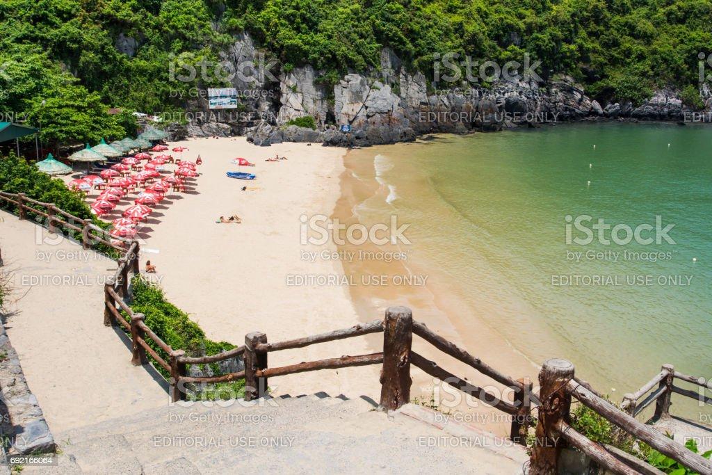 Cat ba island city beach Cat co 1 with tourist sunbathing on the sand and calm seaside stock photo