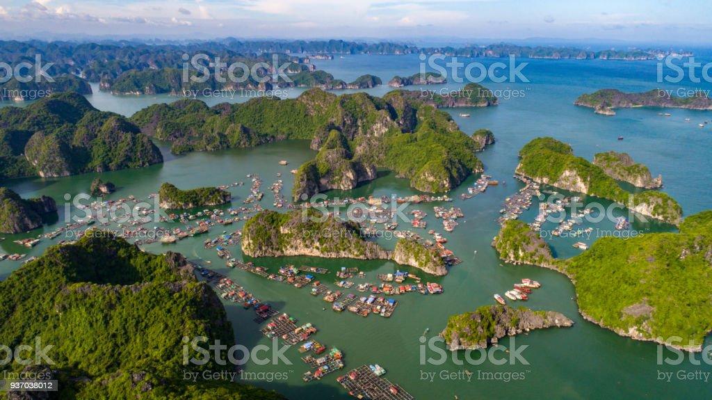 cat ba island from above lan ha bay hai phong vietnam stock photo