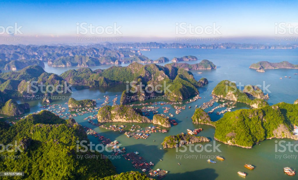 Cat Ba island from above. Lan Ha bay. Hai phong, Vietnam stock photo