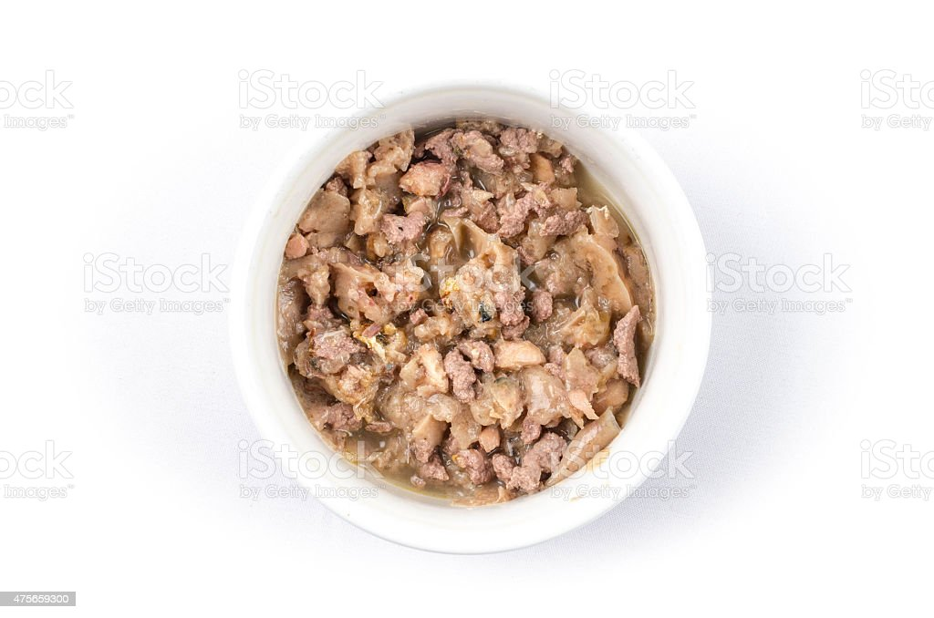 Cat bowl with wet cat food stock photo