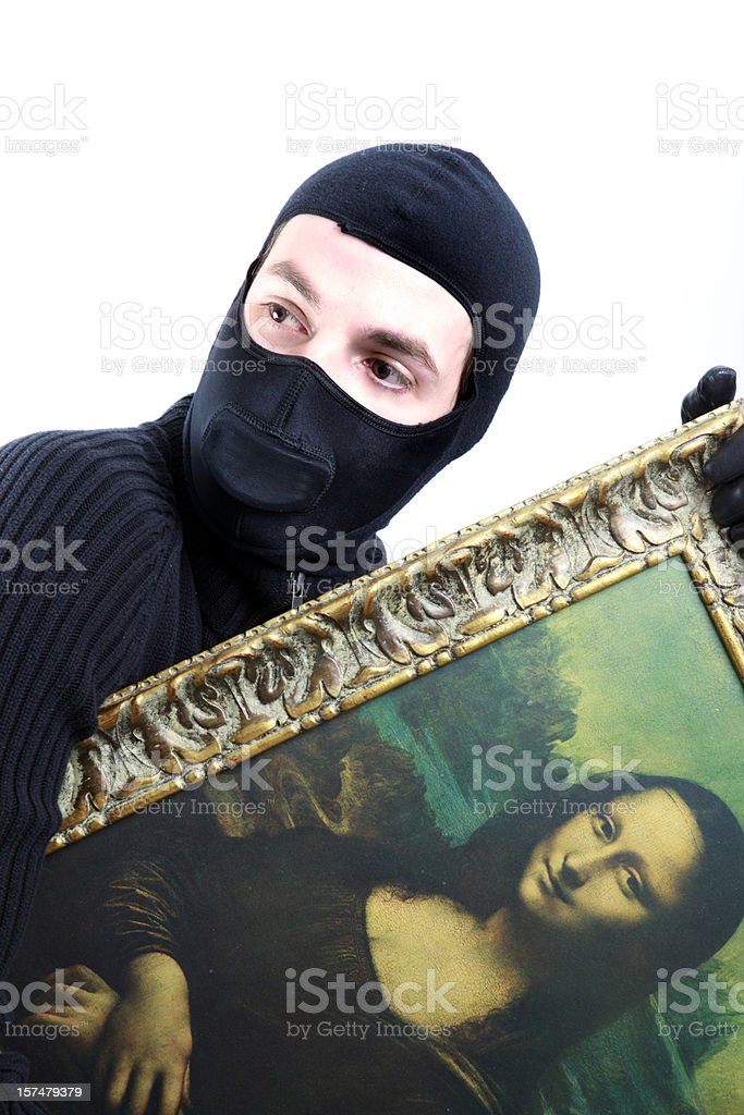 Cat Burgler Stealing the Mona Lisa royalty-free stock photo