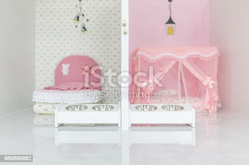 istock Cat dog rodent feeding bowl and lovely sleeping bed. - Slective focus. 686866882