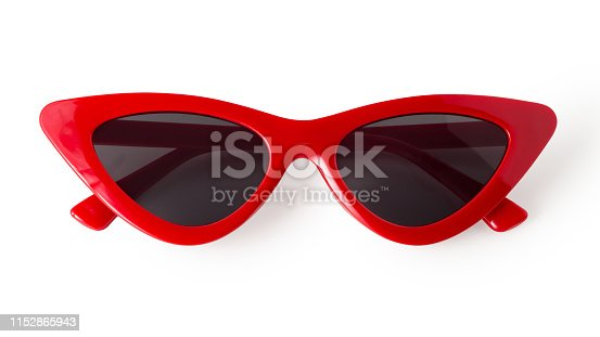 Red cat eye sunglasses isolated on white background