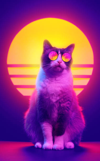 Cat in sunglasses retrowave neon aesthetics. Retro wave synth vaporwave portrait of a cat in sunglasses with palm trees reflection. 80s sci-fi futuristic fashion poster style violet neon aesthetics. electro music stock pictures, royalty-free photos & images
