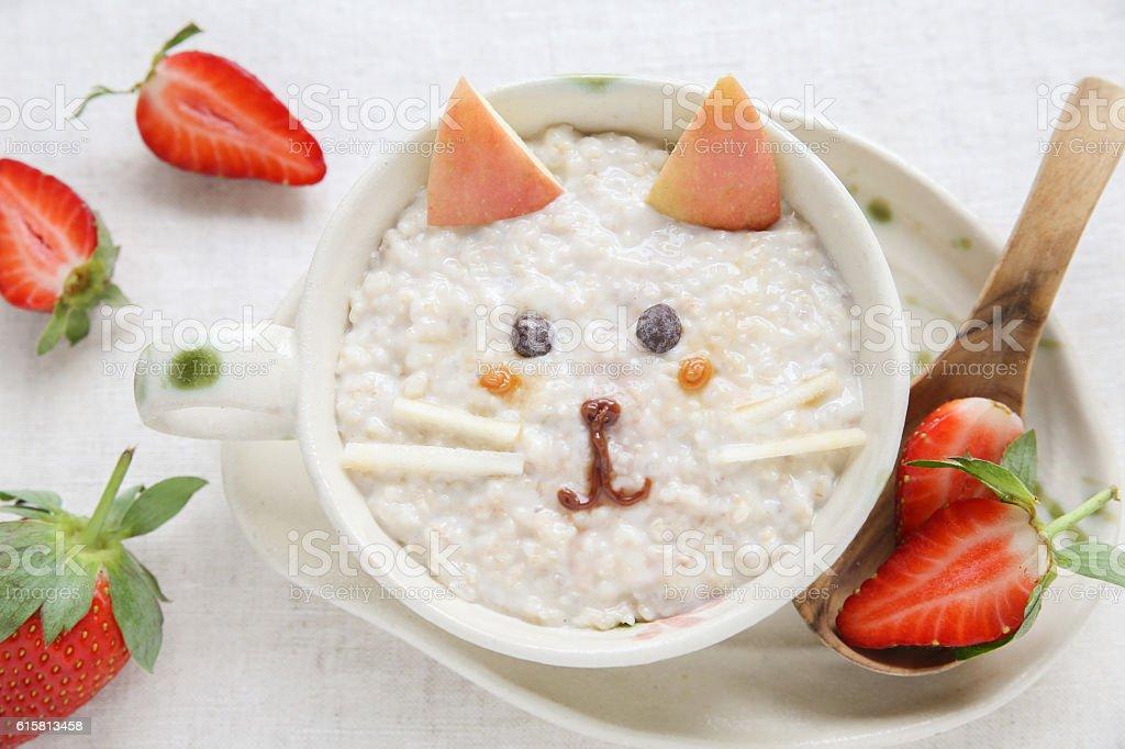 Cat kitten porridge breakfast , food art for kids stock photo