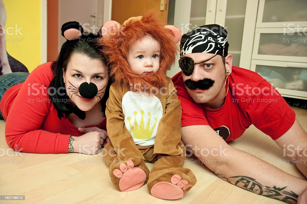Cat, Lion and Pirate royalty-free stock photo