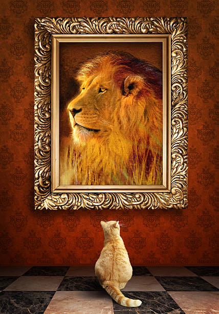 Cat looking at a portrait of lion in golden frame picture id486235629?b=1&k=6&m=486235629&s=612x612&w=0&h=wy1ps0royd5pkc12qhd0xycoo3qjvmwbf4b1yfjr0yu=