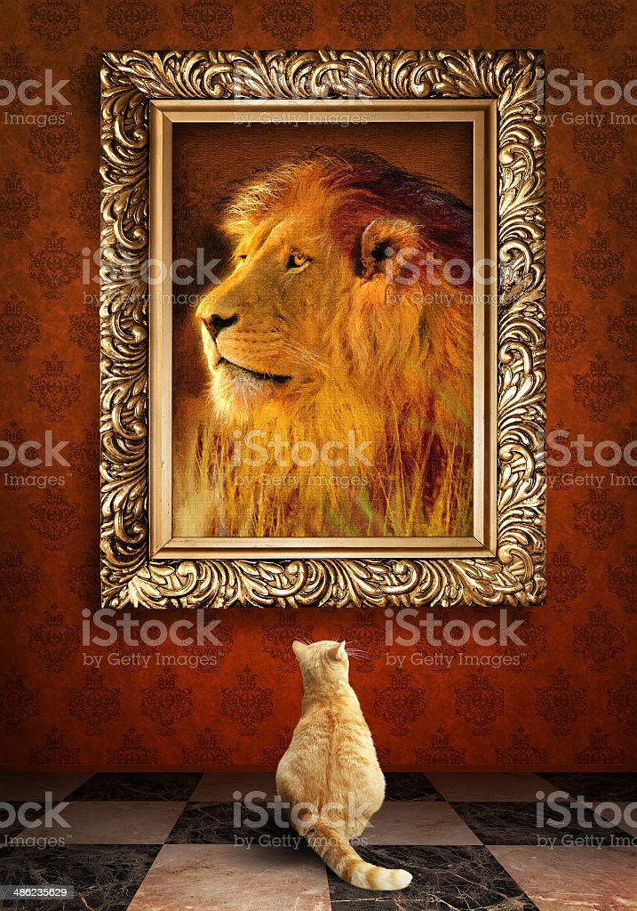 Cat looking at a portrait of lion in golden frame. stock photo