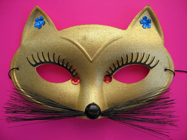cat-maske 1 - rosa camo party stock-fotos und bilder